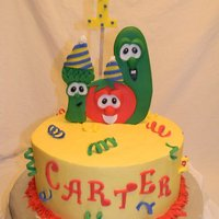 Veggie Tales 2D veggie tales made from sugarpaste and fondant