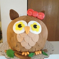 Owl Cake used 2 half ball pans, chocolate cake filled with chocolate mousse covered in bc and covered with fondant