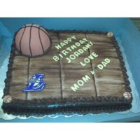 Basketball Court Basketball made out of rice krispy treats and covered in Satin Ice fondant. Cake was half chocolate & half vanilla with chocolate...