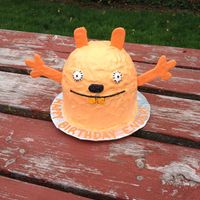 "For My Nephews 1St Birthday An Ugly Doll Recreated As His Smash Cake Cake Is 2 Layers 6 Round Topped With Half Of A Ball Cake Cake And  For my nephew's 1st birthday. An Ugly Doll recreated as his smash cake!Cake is 2 layers 6"" round topped with half of a ball cake..."