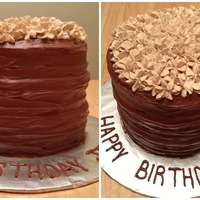 "Simple, Rustic, Elegant Birthday  6"" round 3 layer Double Chocolate Devils Food Cake with an espresso mousse filling and chocolate buttercream frosting. Topped with..."