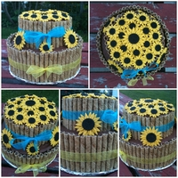 "Sunflowers In A Pirouette Basket  For a friends Bridal Shower. 3 layer 8"" and 2 layer 6"" Chocolate Fudge cake with espresso mousse filling and chocolate..."