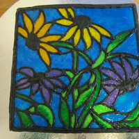 "Stained Glass Cake For my mother-in-law, who loves making stained glass pieces. Black royal icing ""leading"", and tinted piping gel ""glass&quot..."