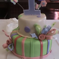 1St Birthday Cake-Fondant Fondant covered cake with strawberry filling. Fondant and gumpaste decorations.