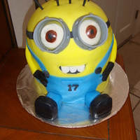 Despicable Me Minion Minion cake for a 17 year old, the construction of this cake was a nightmare, i had 8inch rounds stacks but the cake was too soft and...