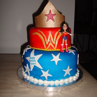 Wonder Woman Super Hero Chocolate and vanilla layer cake with buttercreme covered in white fondant. Airbrushed both layers to have the darkest color. Crown topper...