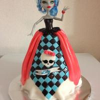 Monster High *doll stuck into cake all of the dress is in fondant