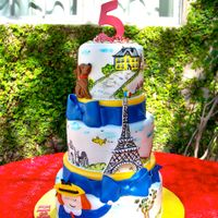 Madeline This 5 tier cake has some 2D fondant decoration and the rest is all hand painted