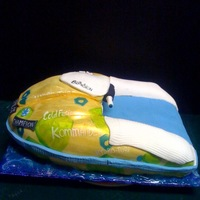3D Jet Ski... a carved cake covered in fondant- My son does extreme jet skiiing and his friend is the 2 time world champion, this was his ski in cake for...