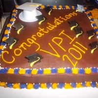Vpi Graduation Cake This is a Sweet Italian Cream Cake with chocolate bc, bordered with purple and gold (school colors). Simple cake. Took it to my son's...