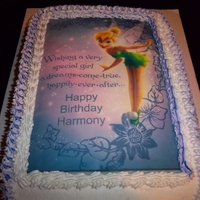 Tink For Harmony Triple Chocolate Cake, chocolate frosting, edible tinkerbell