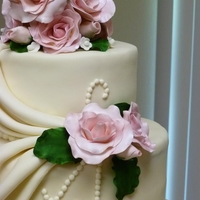 Ivory Cake And Pink Roses
