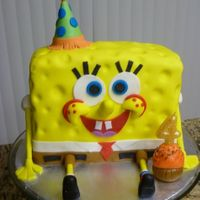 Spongebob Squarepants Cake   Chocolate cake filled with nuts buttercream.