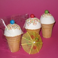 Ice Cream Cupcakes Birthday treat for the kids in my daughter's class. Cupcakes baked in a ice cream cone and topped with fondant, sprinkles and a...