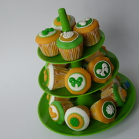 Mini Cupcakes In Lime Mini cupcakes with the color scheme adjusted to the cupcake holder. Almond flavored cupcakes with marzipan decoration.