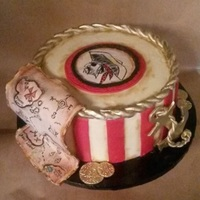 Pirate Theme Grooms Cake Grooms cake with a pirate theme. Hand painted pirate face and treasure map on icing sheet. The treasure map was attached to a thin fondant/...