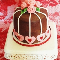 Valentine's Day Cake With Fondant Ribbon Roses