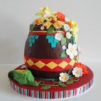 Indian Pottery Bowl Cake With Flowers