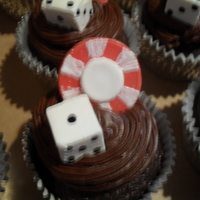 Poker Themed Cupcakes Dice, poker chips, and cards are chocolate.