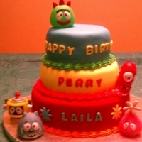 Yo Gabba Gabba WASC WITH CREAM CHEESE FILLING, MARSHMELLO FONDANT. MADE FOR A FRIEND WITH 2 Y/O BOY GIRL TWINS
