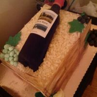 Wine Bottle In A Box Cake My birthday cake. Chocolate almond cake with marscapone cheese pastry crème filling, fondant grapes, leaves, roses and side...
