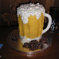 Beer Mug Cake This was for my husbands birthday the buttercream is spiked with Jack Daniels. It was very rich.