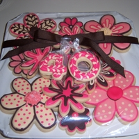 40Th Birthday Cokies she loves pink and brown, all RI details on vanilla sugar cookies.