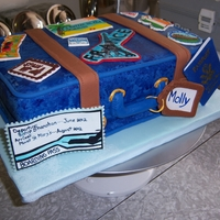 Suitcase Cake Made for HS Grad. Theme was travel I don't have a printer for edible inks all stamps and stickers are handpainted. Thanks for looking...