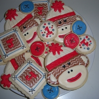 Sock Monkey Cookies Saw these on Sweetsugarbelle blog. Fell in love and had to make them myself. For a 1 yr. old birthday party.