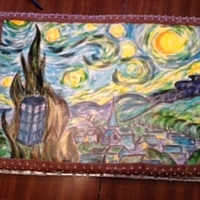 Starry Night Groom's Cake  The grrom loved the VanGogh painting Starry, starry Night and also Doctor Who. I painted the Tartus to include the Dr. Who theme. Painted...