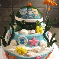 Octonauts  My son's b-day cake - he loves the Octonauts! Old fashioned chocolated fudge cake with white chocolate almond mint buttercream (...