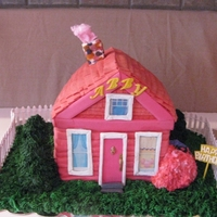 Pinkalicious's House  Made for my daughter's 5th b-day. 3 shades of pink cotton candy and bubble gum (roof) flavoured WASC with Sugarshack's BC and...