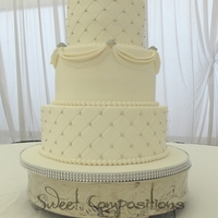 Silver And White buttercream with fondant swags, buttons and silver dragees