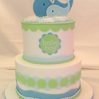 Thar She Blows whale themed baby shower - buttercream finish, fondant accents, gumpaste whale cutouts