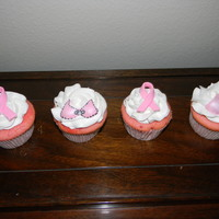 Breast Cancer Awareness Strawberry cupcakes with vanilla buttercream.