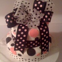Pink And Black Pink and black polka dots made out of marshmallow fondant for a teenage girl birthday party.