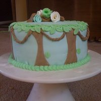 Jungle marshmallow fondant baby shower cake.