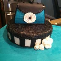 Purse And Box First purse cake! teal & black theme