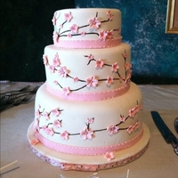 Cherry Blossom Cake Fondant covered 10/8/6 in. cakes