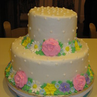 Flowers  Made this cake for a 80th bday party. The lady loved flowers and pastel colors. I had never attempted flowers, so I ran out and bought a...