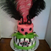 Pink/green With Zebra And Feathers