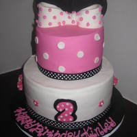 Minnie Mouse Cake   2 tier minnie mouse cake with ears and bow
