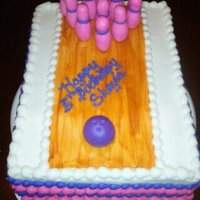 Girls Bowling Cake 1/4 sheet cake bowling with fondant lane with pins and ball