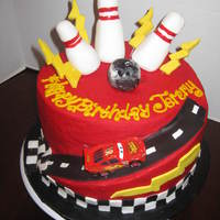 "Cars/bowling Cake   10"" cake with road cut out for lightning mcqueen and bowling theme on top"