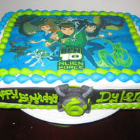 Ben 10 Cake   ben 10 cake with edible image on top and fondant omnitrix watch on side