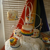 "Hanging Rainbow Cakes! All are 6"" rounds and different flavors. Each is hanging from my amazing new custom cake stand!!!"