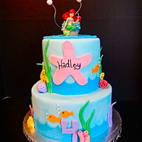 Little Mermaid Cake This is a two tiered cake coated in Sugar shacks buttercream and covered in Fondx fondant. All of the decorations are fondant with the...