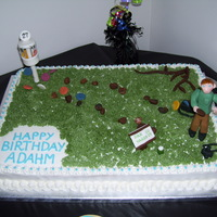 Adahms Birthday Cake My son plays disc golf. He is 27 years old, which is why the goal has a number 27 on top. He was born on 10-29, so I incorporated the...