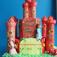 Pink Castle Cake.   This is my first castle cake, 100% edible. Towers were made with homemade pastillage.