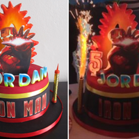 Iron Man Iron man cake with firework candles